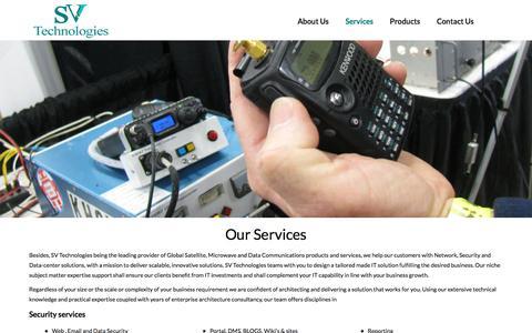 Screenshot of Services Page svtechin.com - Services – SV Technologies - captured Nov. 18, 2016