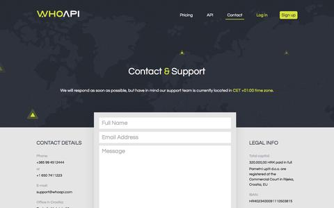 Screenshot of Contact Page whoapi.com - Contact WhoAPI - captured Dec. 5, 2016