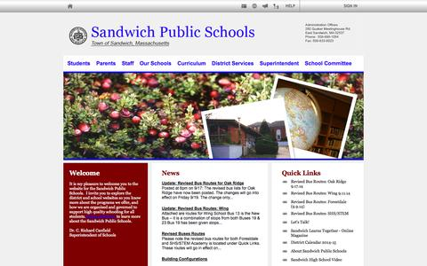 Screenshot of Home Page sandwich.k12.ma.us - Sandwich Public Schools - captured Oct. 4, 2014