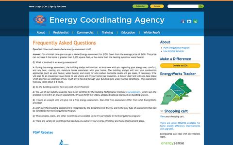 Screenshot of FAQ Page ecasavesenergy.org - Frequently Asked Questions | Energy Coordinating Agency - captured Oct. 1, 2014