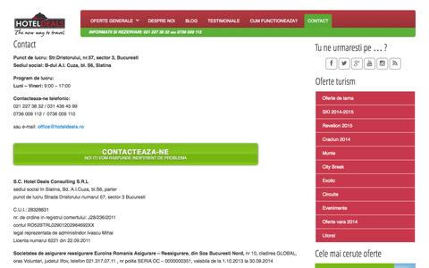 Screenshot of Contact Page hoteldeals.ro - Contact | Hotel Deals - captured Oct. 3, 2014