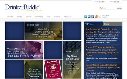 Screenshot of Home Page drinkerbiddle.com - Drinker Biddle & Reath LLP - captured Jan. 18, 2016