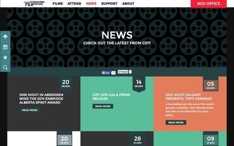 Screenshot of Press Page calgaryfilm.com - News | Calgary International Film Festival - captured Oct. 1, 2014