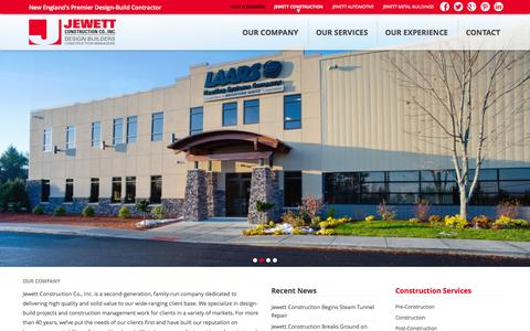 Screenshot of Home Page jewettconstruction.com - Jewett Construction Co., Inc. - captured Oct. 6, 2014