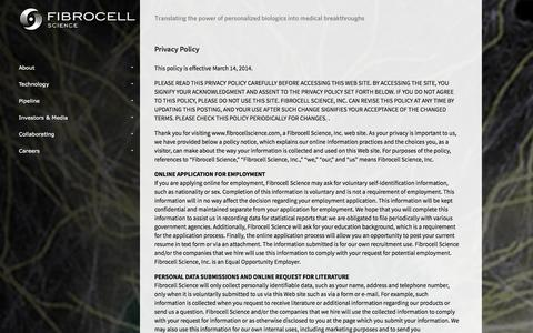 Screenshot of Privacy Page fibrocellscience.com - Fibrocell Science - captured Sept. 16, 2014
