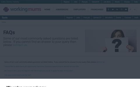 Screenshot of FAQ Page workingmums.co.uk - FAQs - Working Mums - captured Nov. 17, 2018