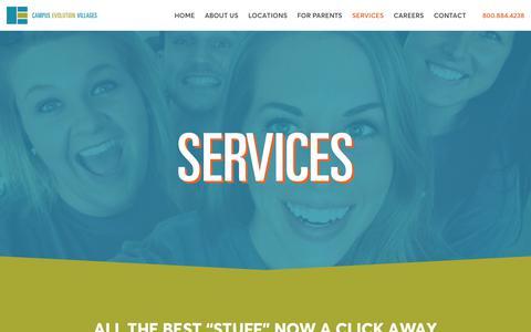 Screenshot of Services Page Team Page cevillages.com - Services - Campus Evolution Villages - captured July 12, 2017