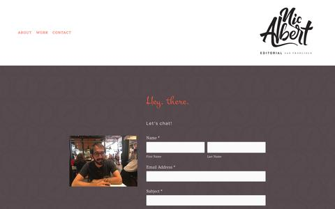 Screenshot of Contact Page nicalbert.com - Contact — Nic Albert Editorial - captured Sept. 24, 2018