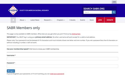 Screenshot of Login Page sabr.org - SABR Members only | Society for American Baseball Research - captured Oct. 1, 2018