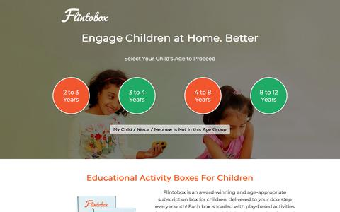 Screenshot of Home Page flintobox.com - Educational Subscription Activity Boxes for Kids | Flintobox India - captured July 12, 2018