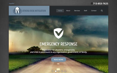 Screenshot of Home Page athenarm.com - Home - Athena Risk Mitigation, LLC - captured Oct. 4, 2014