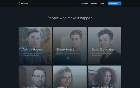 Screenshot of Team Page avocode.com - Avocode – The bridge between designers and developers - captured April 6, 2016