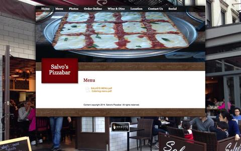 Screenshot of Menu Page salvosnyc.com - Menu - captured Oct. 4, 2014
