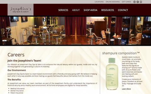 Screenshot of Jobs Page josephinesdayspa.com - Careers - Josephine's Day Spa & Salon - captured Oct. 6, 2014