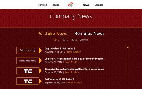Screenshot of Press Page romuluscap.com - News | Romulus Capital - captured Dec. 1, 2016