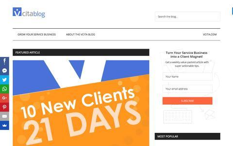 Screenshot of Blog vcita.com - vCita Blog - Welcome - captured June 20, 2017