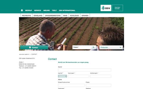 Screenshot of Contact Page dsv-zaden.nl - DSV zaden Nederland - Contact - captured Nov. 23, 2016