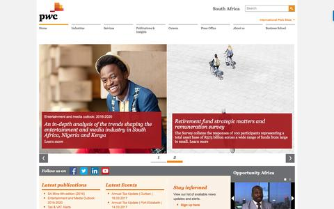PwC South Africa , Homepage