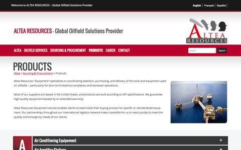 Screenshot of Products Page altears.com - Altea Resources | Products - captured Nov. 2, 2014