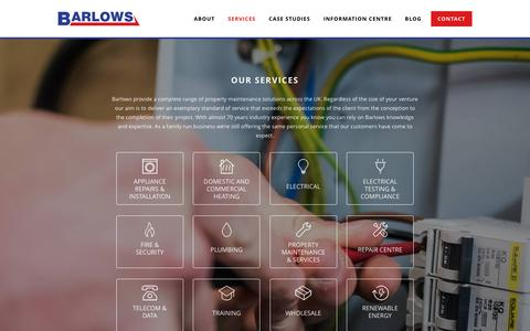 Screenshot of Services Page barlows-electrical.com - Services | Barlows - captured Dec. 30, 2015