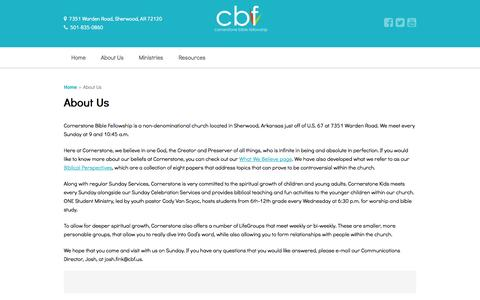 Screenshot of About Page cbf.us - About Us — Cornerstone Bible Fellowship - captured Oct. 3, 2014