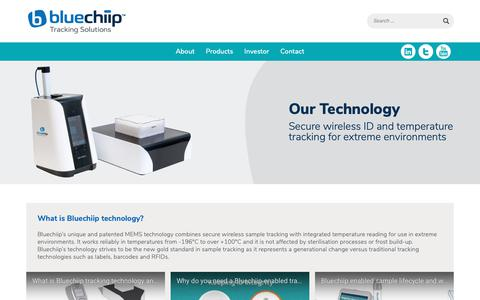Screenshot of Home Page bluechiip.com - Tracking Solutions & RFID Systems for Life Sciences - captured Oct. 6, 2018