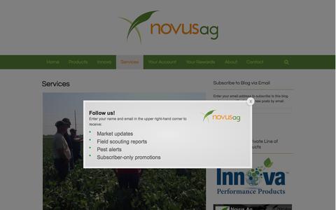 Screenshot of Services Page novusag.com - Services  | Novus Ag - captured Sept. 22, 2015
