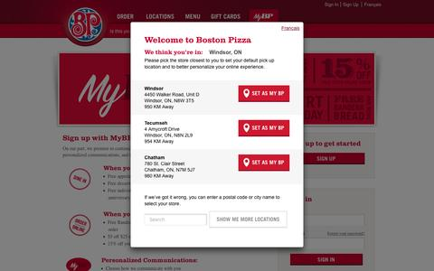 Screenshot of Login Page bostonpizza.com - Sign In   MyBP   Boston Pizza - captured Nov. 23, 2016