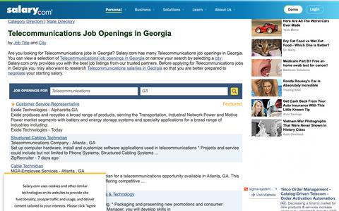 Screenshot of Jobs Page salary.com - Telecommunications Job Openings in Georgia | Salary.com - captured Oct. 26, 2018