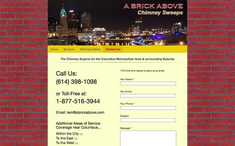 Screenshot of Contact Page abrickabove.com - Contact A Brick Above Chimney Sweeps - Professional Chimney Cleaning in Columbus OH - captured Oct. 1, 2014