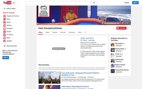 Screenshot of YouTube Page youtube.com - marc boussat pictures  - YouTube - captured Oct. 27, 2014