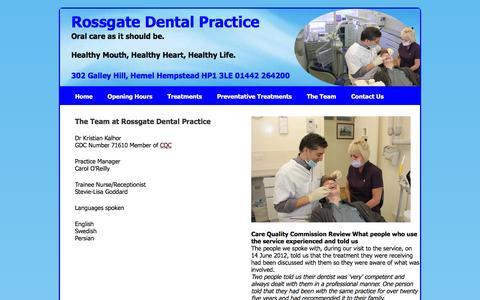 Screenshot of Team Page rossgatedentalpractice.co.uk - Rossgate Dental Practice 302 Galley Hill Hemel Hempstead - captured April 23, 2016