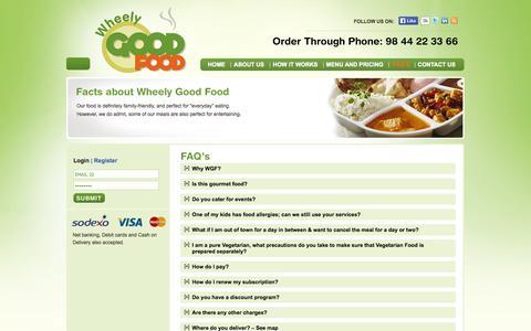 Screenshot of FAQ Page wheelygoodfood.com - Wheely Good Food - captured Oct. 7, 2014