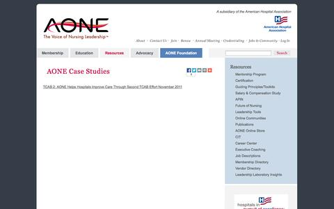 Screenshot of Case Studies Page aone.org - AONE Case Studies - captured Sept. 24, 2014