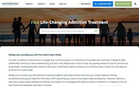 Screenshot of Home Page rehabs.com - Drug Rehabs - Alcohol Rehab Centers - Rehabilitation Programs - captured Feb. 13, 2020