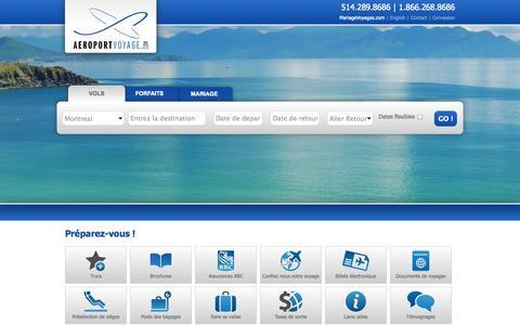 Screenshot of Home Page aeroportvoyage.com - Agence de Voyages à Montréal - Vols - Croisière | Aeroport Voyage - captured Oct. 4, 2014