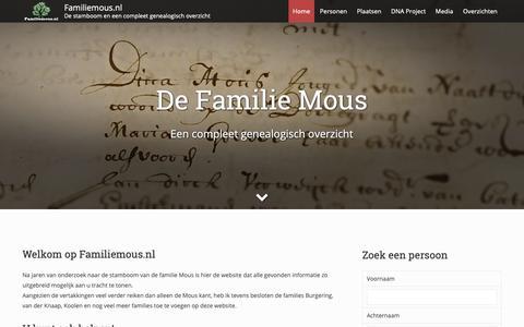 Screenshot of Home Page familiemous.nl - Familiemous.nl – De stamboom en een compleet genealogisch overzicht - captured Oct. 28, 2018