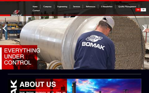 Screenshot of Home Page bomak.com.tr - Saha Tankları | Basınçlı Tank | Eşanjör | Paslanmaz Tank | Bomak Makine - captured Oct. 6, 2018