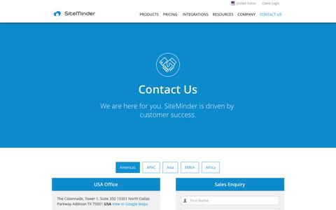 Screenshot of Contact Page siteminder.com - Contact SiteMinder for Sales or Support - captured March 14, 2017
