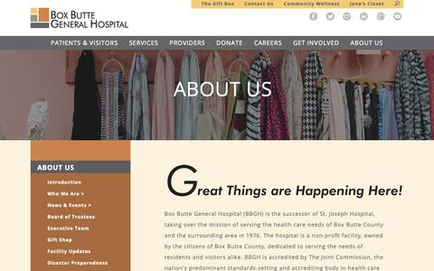 Screenshot of About Page bbgh.org - Box Butte General Hospital : About Us : Introduction - captured Oct. 6, 2018