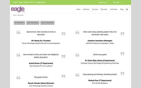Screenshot of Testimonials Page eagle.in - Testimonials - www.eagle.in - captured Nov. 9, 2018