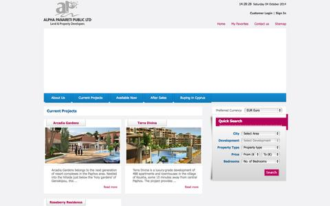 Screenshot of Home Page Login Page apcyprus.com - Alpha Panareti - Property and land Developers in Paphos, Cyprus - captured Oct. 4, 2014