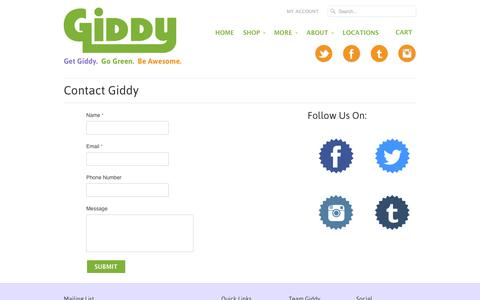 Screenshot of Contact Page getgiddy.com - Contact Giddy | Giddy - captured Oct. 2, 2014
