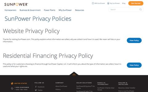 Screenshot of About Page Privacy Page sunpower.com - Privacy Policy | SunPower - captured July 18, 2017