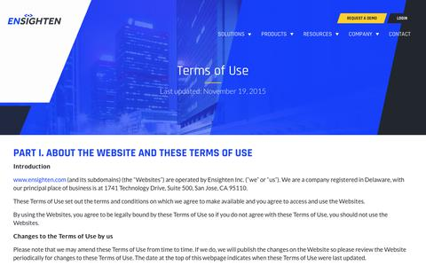 Screenshot of Terms Page ensighten.com - Terms of Use - Ensighten - captured Aug. 28, 2019