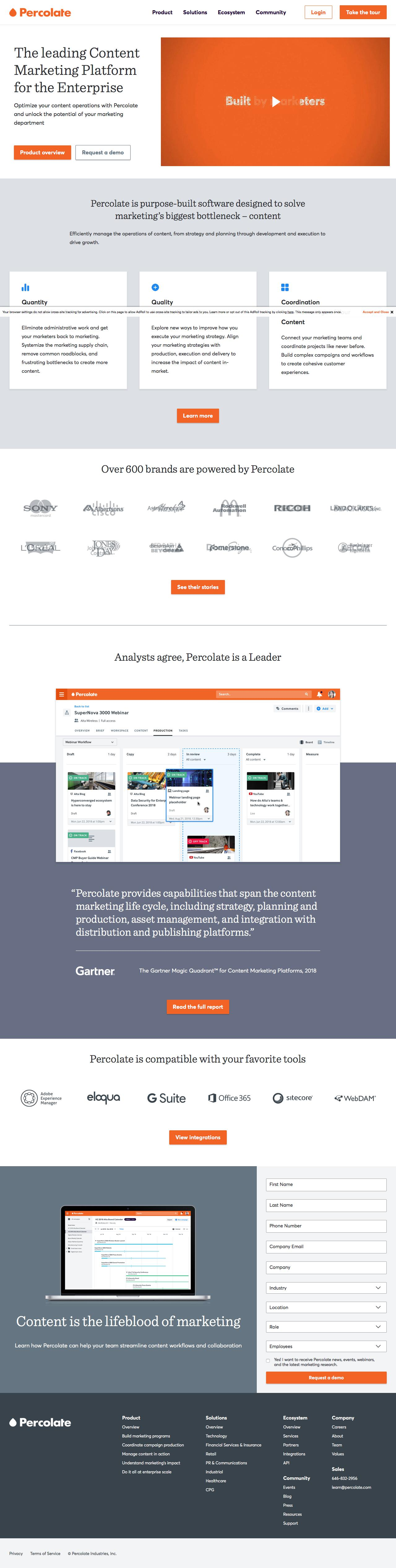 Screenshot of percolate.com - Percolate | The leading Content Marketing Platform - captured June 12, 2018