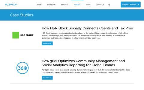 Screenshot of Case Studies Page expion.com - Case Studies - Expion I Content Marketing & Social Relationship Platform - captured Oct. 28, 2014
