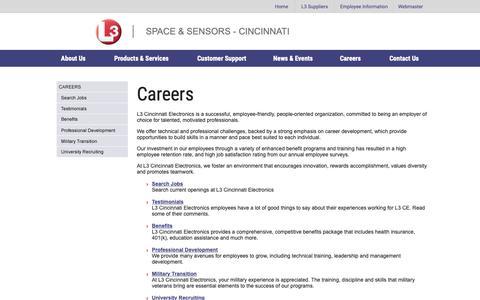 Screenshot of Jobs Page cinele.com - L3 Space & Sensors - Cincinnati - captured March 19, 2019
