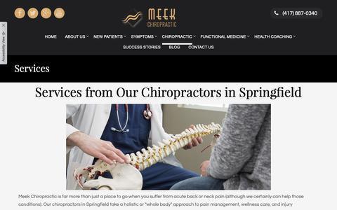 Screenshot of Services Page meekchiro.com - Services | Meek Chiropractic | Springfield - captured Oct. 17, 2018