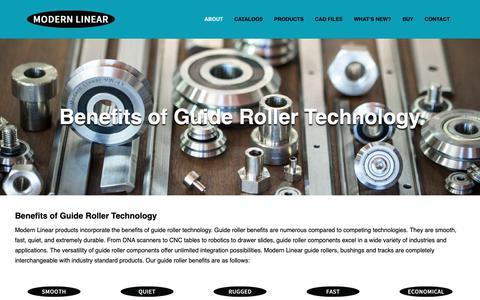 Screenshot of Support Page modernlinear.com - Guide Roller Benefits | Linear Motion | Modern Linear Inc. - captured Oct. 18, 2018